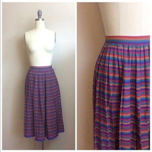 Vintage 1980s Rainbow Striped High Waist Skirt
